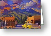 Taos Greeting Cards - Yellow Truck Greeting Card by Art West