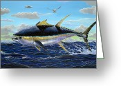 Frigate Greeting Cards - Yellowfin crash Greeting Card by Carey Chen