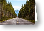 Blacktop Greeting Cards - Yellowstone Open Road Greeting Card by Adam Pender