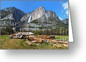 Meadow Greeting Cards - Yosemite Meadow panorama Greeting Card by Jane Rix