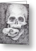 Adam Long Greeting Cards - You Are What You Eat skull drawing Greeting Card by Adam Long