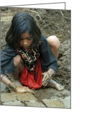 Indian Valley Farm Greeting Cards - Young Girl Making Mud Bricks Central India 2 Greeting Card by Pamela Buol
