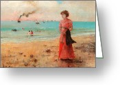 Red Dress Greeting Cards - Young Woman With Red Umbrella Greeting Card by Alfred Stevens