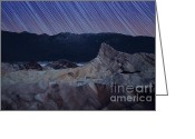 Star Greeting Cards - Zabriskie point star trails Greeting Card by Jane Rix