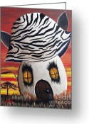 Shawna Erback Greeting Cards - Zebra Cottage by Shawna Erback Greeting Card by Shawna Erback