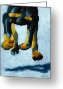 Doberman Greeting Cards - All Fours Greeting Card by Linda Apple