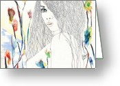 Hottie Greeting Cards - Amy Greeting Card by Tom Norton