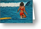 Boogie Board Greeting Cards - Boogie Girl Greeting Card by Lyndon Stokes