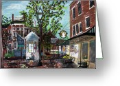 Urban Pastels Greeting Cards - Coffee break at Market Square Greeting Card by Francois Lamothe