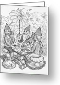 Mini Drawings Greeting Cards - Game Triangle Greeting Card by Bill Perkins