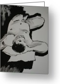 Nudes Drawings Greeting Cards - Male Nude Greeting Card by Joanne Claxton