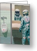 Science Fiction Tapestries Textiles Greeting Cards - Mens Room Greeting Card by Scott Listfield