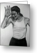 Michael Jackson Greeting Cards - Michael Jackson 2 Greeting Card by Kassandra Billington