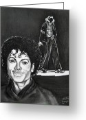 Michael Jackson Greeting Cards - Michael Jackson II Greeting Card by Toni  Thorne