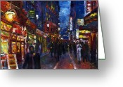 Night Painting Greeting Cards - Paris Quartier Latin 01 Greeting Card by Yuriy  Shevchuk