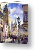 Watercolour Greeting Cards - Prague Old Town Square 01 Greeting Card by Yuriy  Shevchuk