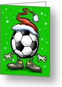 Soccer Greeting Cards - Soccer Christmas Greeting Card by Kevin Middleton