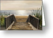 Ocean Front Greeting Cards - The Beach Greeting Card by Toni  Thorne