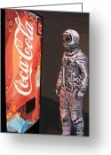 Science Fiction Tapestries Textiles Greeting Cards - The Coke Machine Greeting Card by Scott Listfield