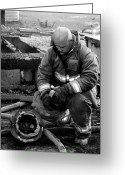 Dana Oliver Greeting Cards - The Praying Firefighter black and white Greeting Card by Dana  Oliver