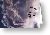 Skydiving Greeting Cards - Together We Fall Greeting Card by Angel  Tarantella