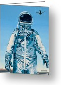 Science Fiction Tapestries Textiles Greeting Cards - Under the Flight Path Greeting Card by Scott Listfield