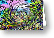 Computer Generated Abstract Greeting Cards - Vortex Greeting Card by Wayne Potrafka