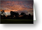 Golf Green Greeting Cards - 16 Green Dawn Greeting Card by Edwin Voorhees