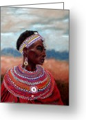 Family Pastels Greeting Cards - Samburu Woman Greeting Card by Carol McCarty