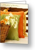 Pillows Greeting Cards - A Basket of Blooms Greeting Card by Holly Kempe