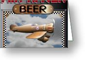 Racer Digital Art Greeting Cards - Air Racer Beer Greeting Card by Stuart Swartz