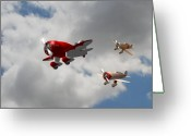 Racer Digital Art Greeting Cards - Air Racers Greeting Card by Stuart Swartz