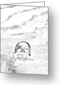 Water Swimming Pool Greeting Cards - Al Alcance de la Meta Greeting Card by Vilma Rohena