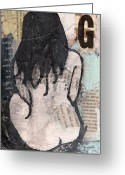 Nudes Mixed Media Greeting Cards - Alphabet nude G Greeting Card by Joanne Claxton