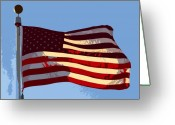 Strips Greeting Cards - American Flag Greeting Card by David Lee Thompson