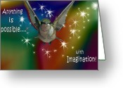 Baby Room Greeting Cards - Anything is Possible with Imagination  rainbow Greeting Card by Cathy  Beharriell