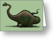Dinosaur Greeting Cards - Apatosaurus  Greeting Card by Kevin Middleton