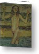 Skinny Dip Greeting Cards - At the Beach Greeting Card by Neil Trapp