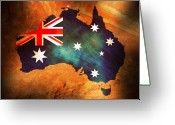 Australia Map Greeting Cards - Australian Flag on Rock Greeting Card by Phill Petrovic