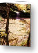 Anna Villarreal Garbis Greeting Cards - Autumn Waterfall II Greeting Card by Anna Villarreal Garbis