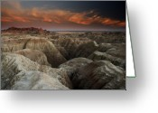 Great Plains Greeting Cards - Badlands Greeting Card by Eric Foltz