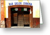 Darian Day Greeting Cards - Bar Salon Corona Greeting Card by Olden Mexico