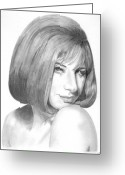 Celebrity Drawings Greeting Cards - Barbra Streisand Greeting Card by Rob De Vries