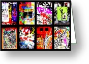 Abstract Collage Greeting Cards - Barcelona Doors ... All Graffiti Greeting Card by Funkpix Photo  Hunter