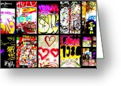 Funkpix Greeting Cards - Barcelona Graffiti Wall  Greeting Card by Funkpix Photo  Hunter