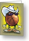 Basketball Greeting Cards - Basketball Cowboy Greeting Card by Kevin Middleton