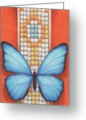 Insect Drawings Greeting Cards - Beaded Morpho Greeting Card by Amy S Turner