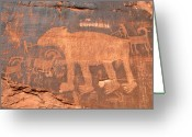 Animal Hunting Greeting Cards - Big Bear Petroglyph Greeting Card by David Lee Thompson