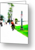 Funkpix Greeting Cards - Biking on Newport Beach Greeting Card by Funkpix Photo  Hunter
