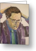 Player Mixed Media Greeting Cards - Bill Evans Greeting Card by Anita Burgermeister